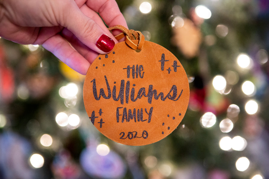 Hand-lettered Personalized Name Christmas Leather Ornament - Kingfolk Co