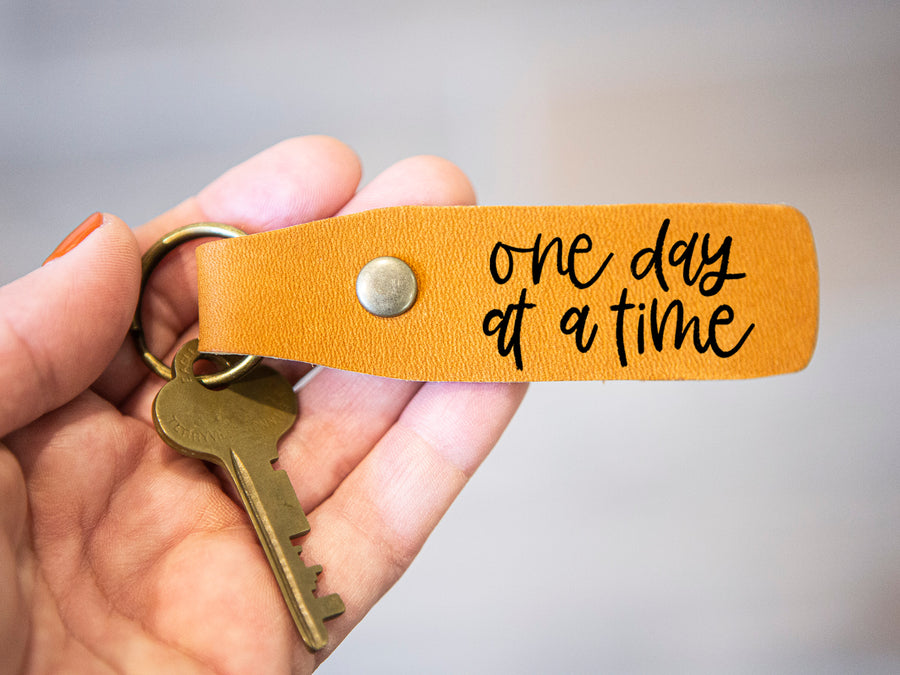 One Day at a Time leather keychain - Kingfolk Co