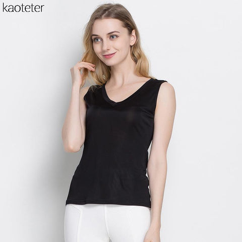 100% Pure Silk Women's Tank Tops Fem Casual Blouse Women Sleeveless Vest Blusa Feminina Blouses Ladies Shirts For Female Woman