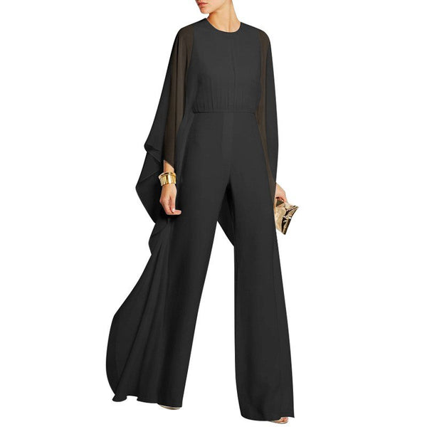 #1538 Spliced Chiffon Jumpsuit Women White/Red/Black Solid Color Wide Leg Jumpsuit Ruffles Batwing Sleeve Rompers Elegant
