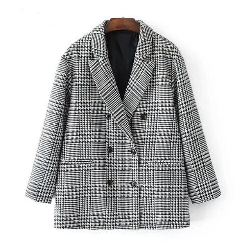 2020 Autumn Fashion Plaid Blazer for Women Casual Outwear Double Breasted  workwear Blazer female Coat