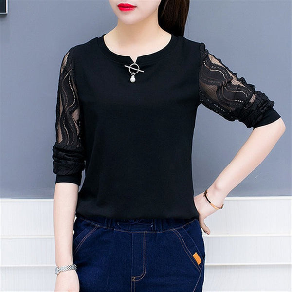 2020 Autumn Long Sleeve Lace Shirts Women elegant Office Blouse White Slim Tops Fall O Neck Casual Lady Blusas work wear B8#