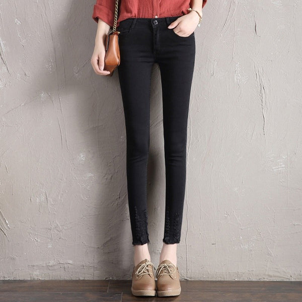2020 Autumn New Women Ankle-Length Black Jeans for Students Stretch Skinny Female Slim Pencil Pants Denim Solid Ladies Trousers