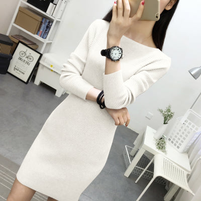 2018 Autumn Winter Women Sweater Dress War  Pullovers Sweater Elastic Sli Knitted Dress Bottoming Sexy Women Dress  339