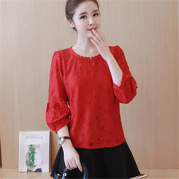 2020 Autumn elegant Lace Shirts Women Office Blouses White Red Loose Tops Fall O Neck Casual Lady Blusas work wear 3XL L4#
