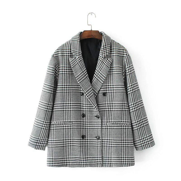 Autumn winter Vintage Casual Loose Double Breasted Blazer Winter Suits Europe Style Women Blazers And Jackets Plaid Tops