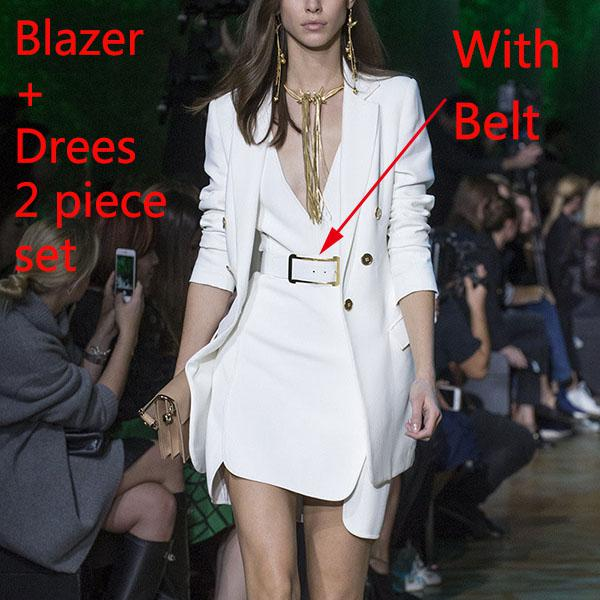 Blazer Feminino Single Button Notched Sashes White Office Ladies Jacket High Quality Women Blazers Suit Autumn Runway Coat