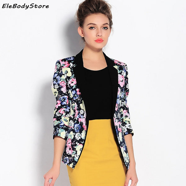 Blazer Feminino women Fashion Office Lady Blazers Mujer 3/4 Sleeve Floral Printed Slim Suit Jacket Spring Summer