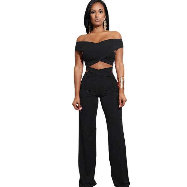 Casual Women Summer autumn Crop Top And Pants two Piece set Sexy Female Clothing Set Bandage off shoulder bodycon Jumpsuits