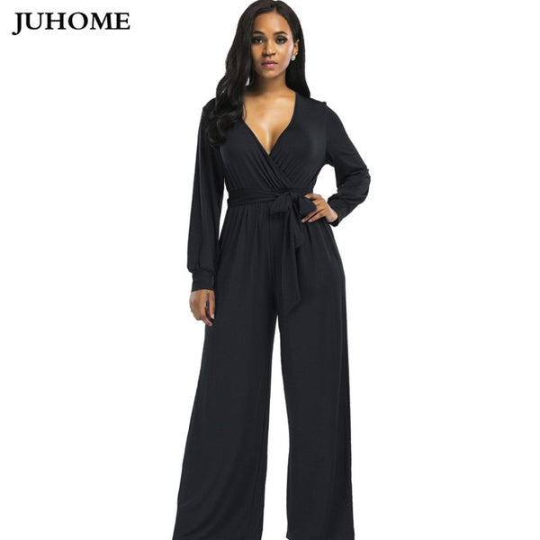 Elastic women autumn winter wide leg Jumpsuits black blue tunic elegant Overalls rompers long sleeve ladies office macacao