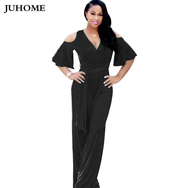 Fashion Femme Summer autumn Jumpsuit Rompers Elegant V-Neck tunic Slim Sashes Women plus size loose long Wide leg Overalls