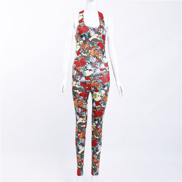 Fashion Print Camouflage Sexy Sporting Playsuit European Stand Women New Backless Casual Jumpsuit Movement Piece Bodysuit