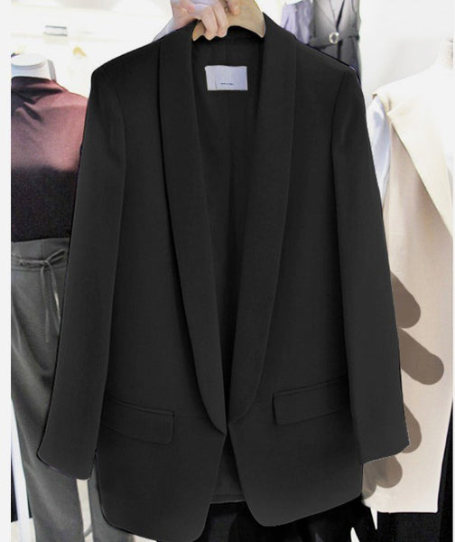 Fashion Spring and Autumn  Ladies One Button Small Suit Blazer Women Solid Color Medium Long Jacket Shawl Collar Outwear