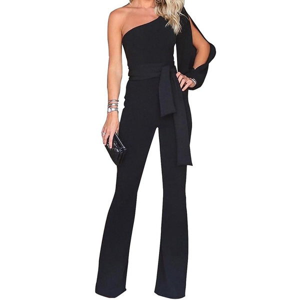 Fashion Women Tie Waist One Shoulder Sexy Jumpsuit Rompers Sleeveless Wide Leg Pant Casual Playsuit