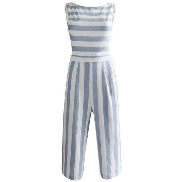 Fashion Womens Sleeveless Striped Jumpsuit Ladies Casual Loose Trousers Leotard Catsuit Combination Wide Leg Pants Overalls