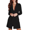 2020 Top Fashion Ladies Slim Belted Deep V Neck Suit Dress Quality Long Sleeve Suit jacket Womens Blazer