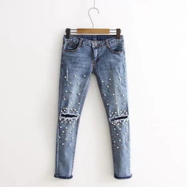 Hot Women Fashion Destroyed Ripped pearled Slim Denim Pants Jeans Trousers Denim Long Hole
