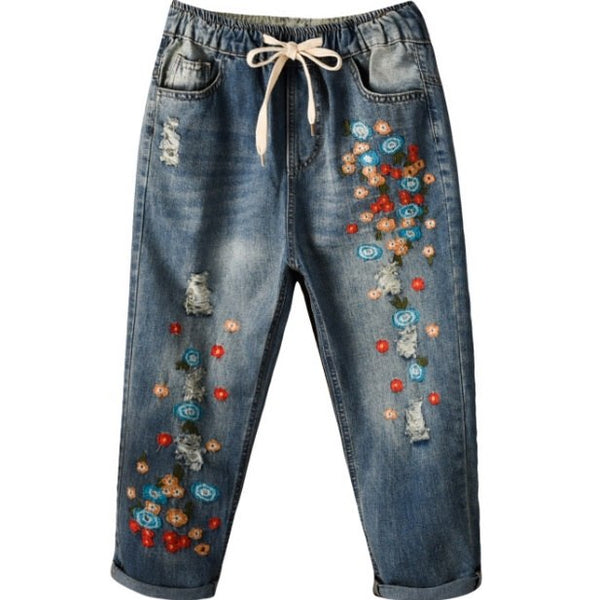 Jeans Woman Women Mini Flower Embroidered With Drawstring Mid-calf Length Folk Style Loose Jeans Distressed Denim Pants