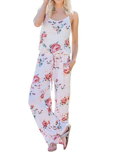 Kawaii Floral Women Jumpsuit Fashion Spaghetti Strap Long Playsuits Casual Beach Wide Leg Pants Jumpsuits Overalls GV736