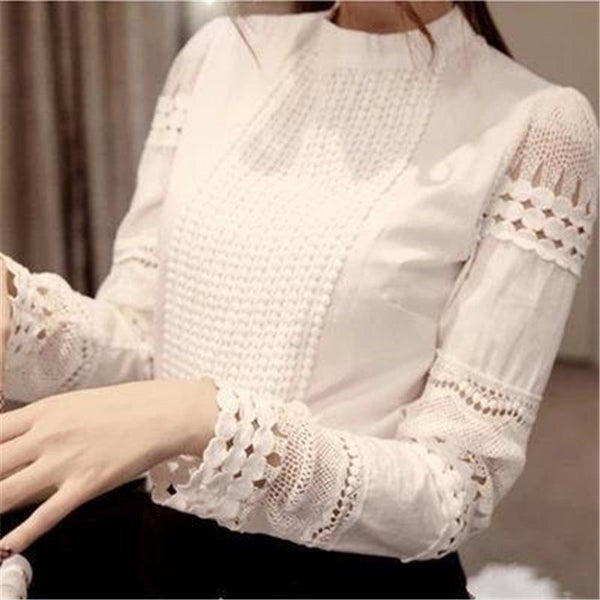 Korean Fashion Women Clothing Ladies Slim Bottoming Long Sleeve White Shirts Lace Hollow Out Women Blouse Shirts Plus Size