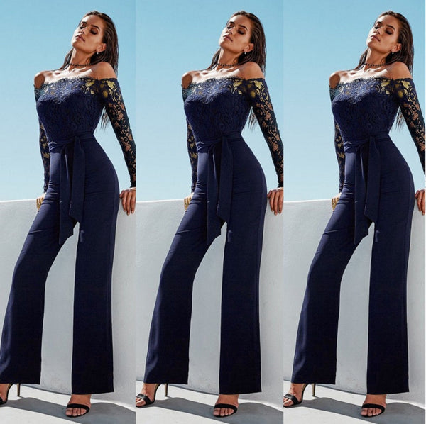 Lace Summer Rompers Womens Jumpsuit Sexy Ladies Casual Elegant Off shoulder Long Trousers Overalls Black Jumpsuit