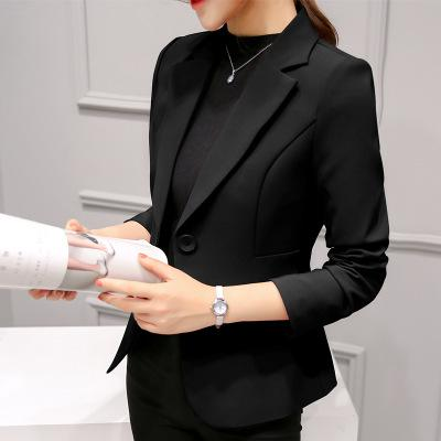 Ladies Blazers Single Button Suit Jackets Fashion Elegant  Slim Wine Red Blue Blazers Feminina Long Sleeve Coat
