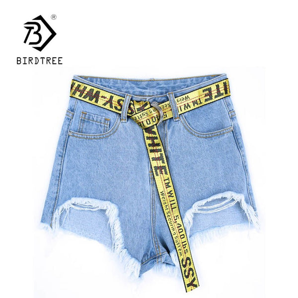 Ladies Summer Denim Holes Ripped High Waist Irregular Shorts With Belt New Arrival Women Casual Sexy Hots Sales B83916F