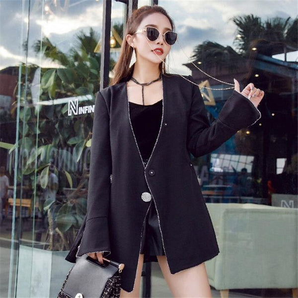 Long Spring Women Blazers And Jackets V-Neck Sexy Fashion Slim Suit Jacket Women Long Sleeve A5262