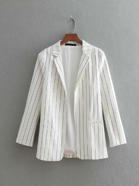 NEW Suit Women Retro Roll Up Three Quarter Striped Blazer Jacket White Casual Coat Office Business Cardigan  Feminine Tops