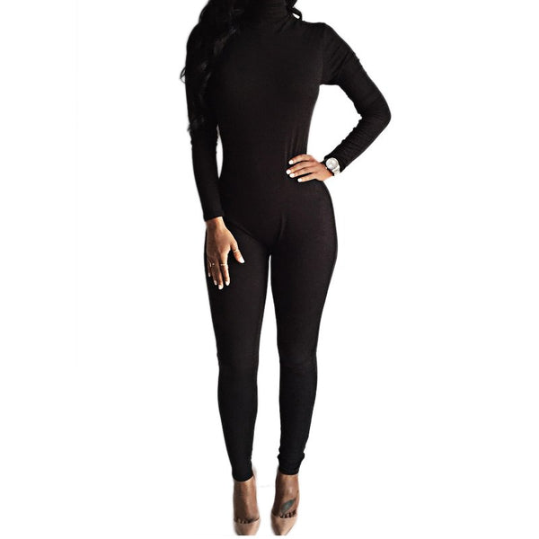 New Arrival Sexy Black Bodysuit Bodycon Rompers Womens Jumpsuit Slim Long Sleeve One Piece Playsuit Overalls Macacao