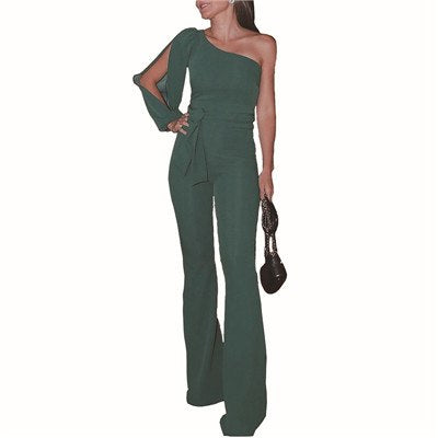 New Arrivals Women Fashion Office Lady Solid Jumpsuit Stylish One off Shoulder Slit Sleeve Black Jumpsuit Lace Up overalls