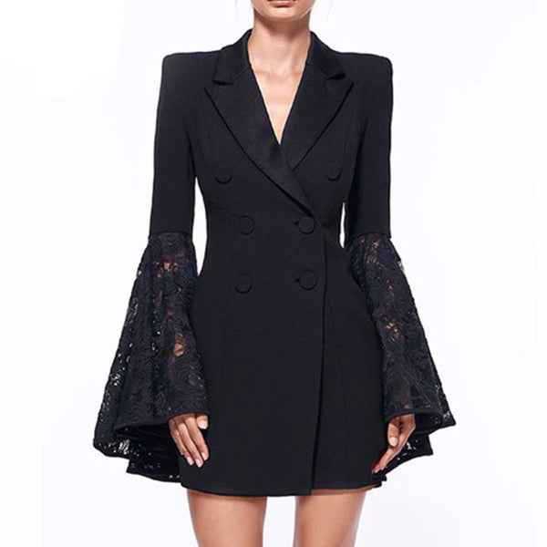 New Autumn Blazer Women Jacket black Lace Notched jaqueta feminina Celebrity Runway Jackets Elegant Lady Blazer