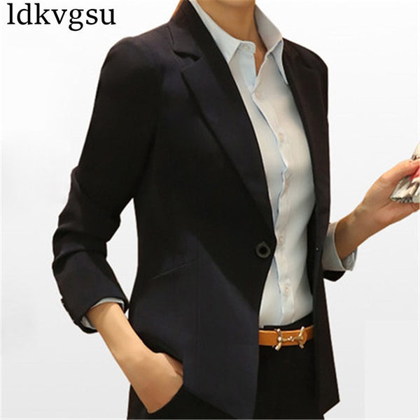 New European Fashion Women Blazer Jacket Spring Autumn Black Coats Long Sleeve Office Lady Suits Plus Size 3XL Blazers A751