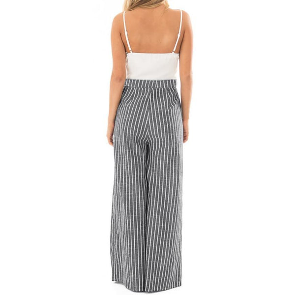 New European Style Summer design Brand Women Bowknot Sleeveless Striped Print Jumpsuit Casual Clubwear Wide Leg Pants 1a3