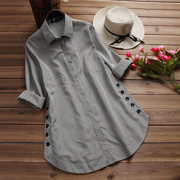 New Fashion Women's Long Sleeve Lattice Button Casual Tops Shirt Loose Plus Size Long Casual Blouse