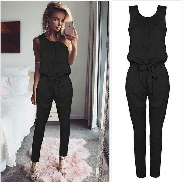New Jumpsuits Women Elegant Casual Sexy Sleeveless Bandage Rompers Womens Jumpsuit Long Pants Black White Bodycon Jumpsuit