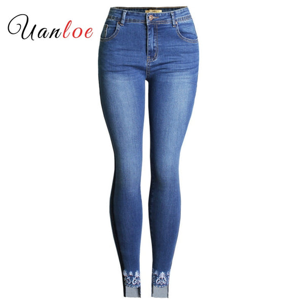 New Plus Size Embroidery Jeans With Side Stripes Women`s Stretchy Denim Pants Mom Jean Femme For Women Jeans
