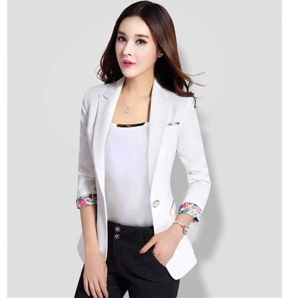 2020 New Spring Autumn White Small Blazer Fashion Slim Long Sleeve Black Female Blazers Jackets Plus Size Office Women Suit 5XL