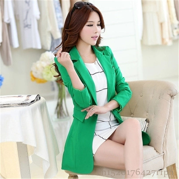 2020 New Spring Autumn Women Long Blazers Korean Long Sleeve Business Suits Jackets Coats Casual Slim Solid Female Outerwear