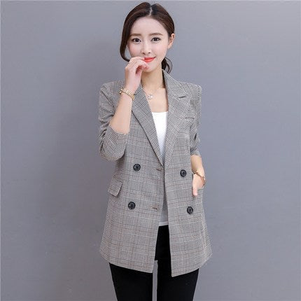 2020 New Spring Spring Autumn Female Blazers Plaid Double Breasted Slim Suits Jackets Long Woman Blazers Coats