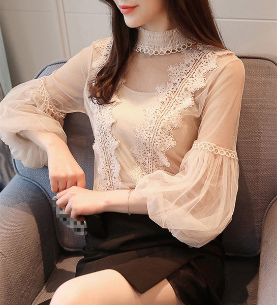 New Spring Women High Neck Tulle Tops Elegant Lace Chiffon Office Causal Shirts Sexy Lantern Sleeve Perspective Blouses