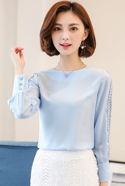 New Women Blouses Shirt Hollow Out Lace Blouse Tops For Shirt Geometry Casual For Work Blusas White Pink 9/10 Sleeve S-3XL