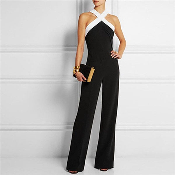 Office Lady Strap Sleeveless Bodycon Black Jumpsuit Women Wide Leg Romper Overall Pants Fashion Clothes