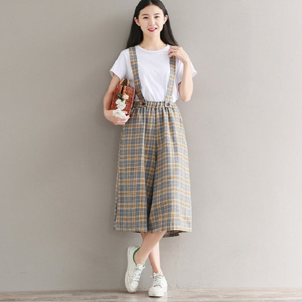 Preppy Style Cute Girls' Overalls Casual Loose Cotton Plaid Wide Leg Women Calf-Length Pants Strap Backless Cool Jumpsuits