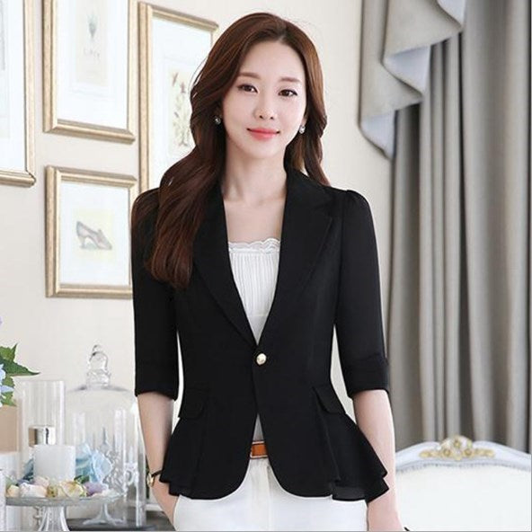 Short Style Female Summer Blazer Women Slim Fit Peplum Suit Jacket Short Sleeve Chiffon Blazers Coats Black Blue White Pink