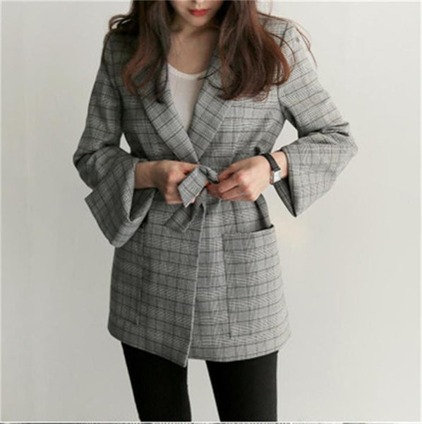 Spring Autumn Female Elegant Plaid Blazer Casual Slim Women Blazers and Jackets Plus Size Office Ladies Workwear