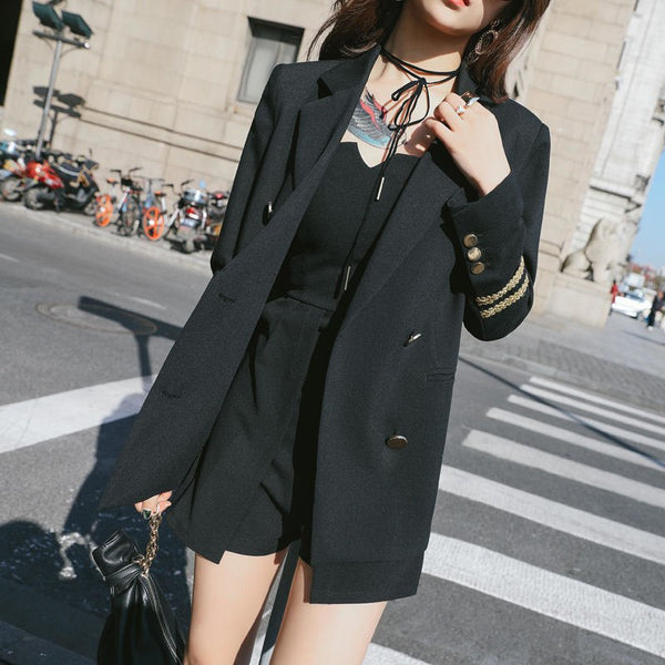 Spring Autumn New Korean Fashionable Navy Blazer Women Embroidery Suit Jackets Woman Plus Size BLACK Blazers Coats Z396