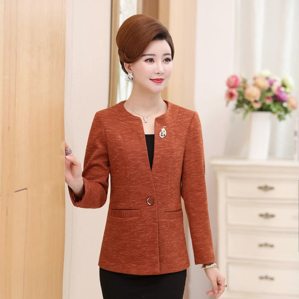 Spring Autumn New Middle-Aged Women Jacket Coat  Fashion Women Suits & Blazers Slim High Quality Blazer T14