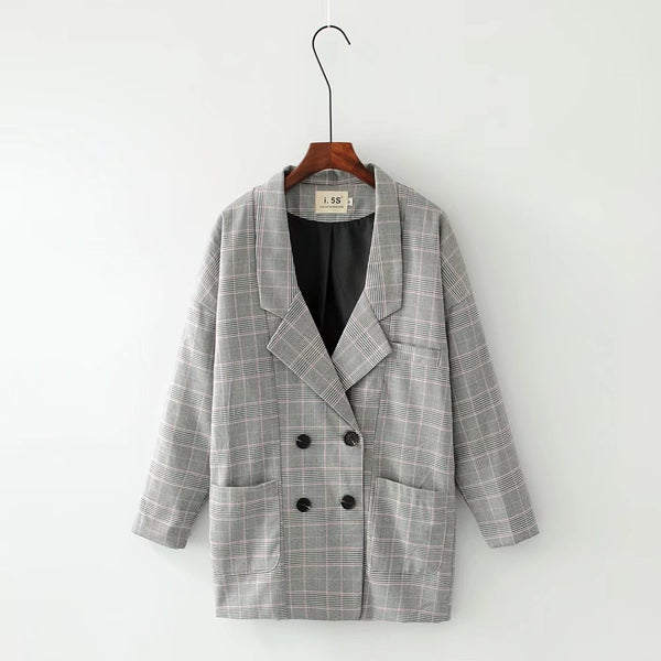 2020 Spring Autumn Plaid Long Blazer Women Double Breasted Blazer Long Sleeve Suit Jacket Female Casual Plaid Suit Loose Coat