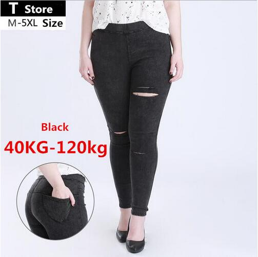 Spring Black Ripped Jeans Women Holes In Knees Tight Denim Pants Femme High-Waisted Jeans Destroyed Trousers Female